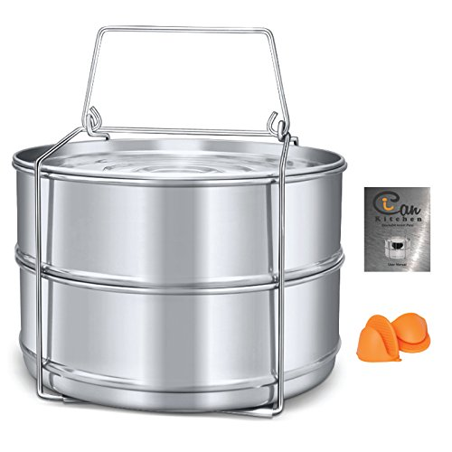 Pan Power - Stackable Steamer Insert Pans with Lid and Sling Handle for Pressure Cooker or Instant Pot Accessories 6, 8 qt - Stainless Steel Food Steamer for Lasagna Pans, Cooking, Baking, Steaming, and Reheating