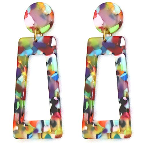 XYIYI Acrylic Earrings for Women Simple Exaggerated Geometric Earrings Bohemian Resin Acetate Drop Dangle Earrings Mottled Hoop Earrings Fashion Jewelry (Colorful) (Colorful Earrings)