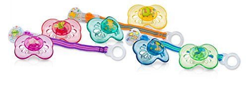 Nuby Brites Combo, Includes 2 Classic Oval Pacifiers and 1 Pacifinder, Colors May Vary
