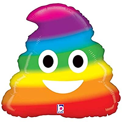 "20"" Emoji Rainbow Poop Shape Foil Balloon: Home & Kitchen"