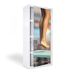 banjado - Medizinschrank 27x57x12cm Erste Hilfe Arzneischrank weiß Edelstahl...