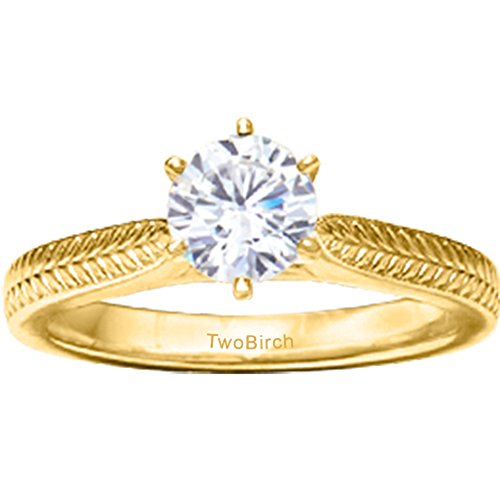 TwoBirch 14k Yellow Gold Thin Engraved Pinched Shank Solitaire with Diamonds (0.33 ct. twt.)