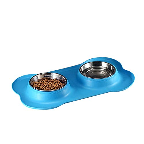 - azhuang Bone Type Pet Silica Gel Bowl Stainless Steel Pet Double Bowl Dog Bowl The Dog Bowl Pet Food Bowl Tableware,Sky Blue,M
