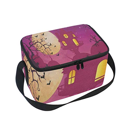 Lunch Tote Halloween Moon Party Mens Insulated Lunch Bag Zipper Kids Lunch Box -
