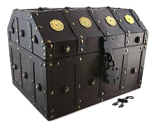 Treasure Chest Pirate 13x 9x 9 Lock Skeleton Keys Doubloon Accents in Antique Cherry Stain By Well Pack Box(Large) -