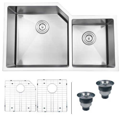 Best Prices! Ruvati 33 Undermount 16 Gauge Double Bowl Kitchen Sink - RVH8150