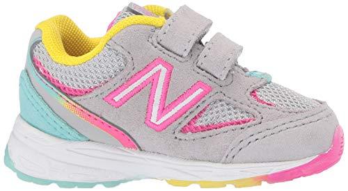 New Balance Girls' 888v2 Hook and Loop Running Shoe Grey/Rainbow 2 W US Infant by New Balance (Image #7)