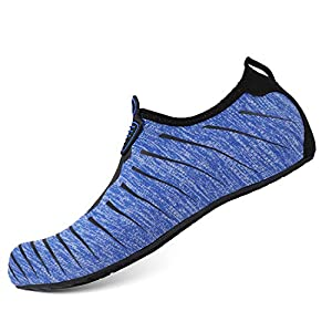 HEETA Water Sports Shoes for Women Men Quick Dry Aqua Socks Swim Barefoot Shoes for Beach Pool Surf Swim Yoga Blue & Black S