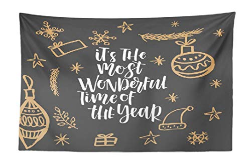 FINOY Tapestry Wall Hanging,Christmas Greeting Lettering Calligraphy Modern Tapestry Wall Art,Throw Tapestry for Bedroom 30L x 45W Christmas