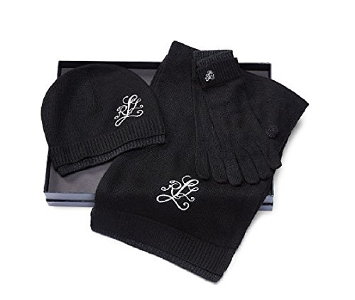 RALPH LAUREN Women's' Monogram 3-Piece Hat Gloves & Scarf Gift Set by RALPH LAUREN