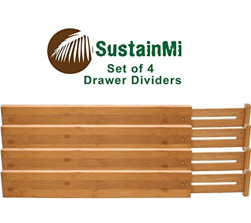 SustainMi Set of 4, Expandable and Adjustable Bamboo Kitchen Drawer Divider - Diy Sunglass Organizer