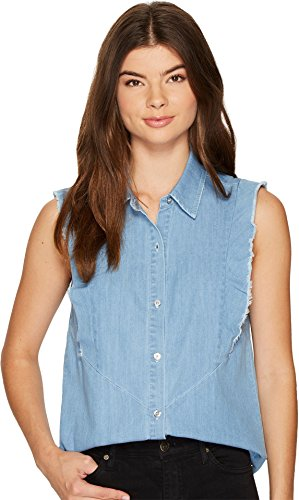7 For All Mankind Women's Sleeveless Ruffled Denim Shirt in Skyway Authentic Blue Skyway Authentic Blue T-Shirt