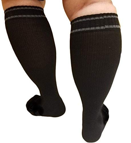 MICODEMA Compression Socks XWide Calf - Firm Gradient Support, Ankle and Arch Support. Knee High | Plus Size Premium Cotton Hosiery with padded soles | Black, Extra Wide Size