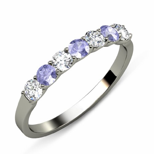 0.56 Ct Tw Diamond (Tanzanite and Diamond (SI2-I1, G-H) 7 Stone Wedding Band 0.56 ct tw in 14K White Gold.size 8.0)
