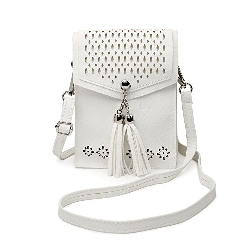 Women Small Crossbody Bag, seOSTO Tassel Cell Phone Purse Wallet Bags (White) … by seOSTO