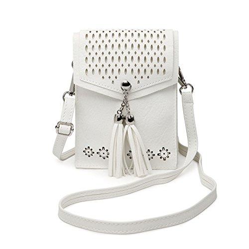 Women Small Crossbody Bag, seOSTO Tassel Cell Phone Purse Wallet Bags (White) … by seOSTO (Image #8)