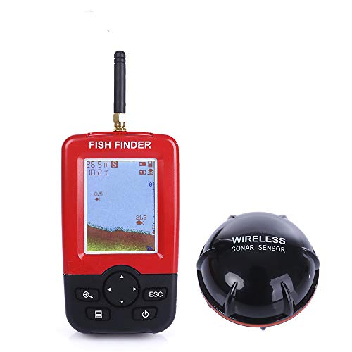 (Portable Fish Finder, NACATIN Fishfinder with Portable Fish Finder, Fishfinder with Wired Sonar Sensor Transducer and LCD Display)