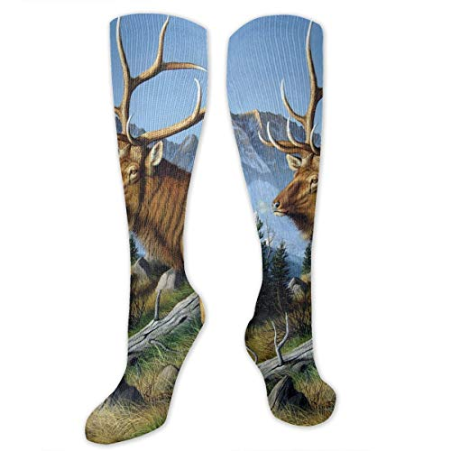 (Compression Socks Wild Deer With Long Horn Soccer Sports Knee High Tube Socks For Women And)