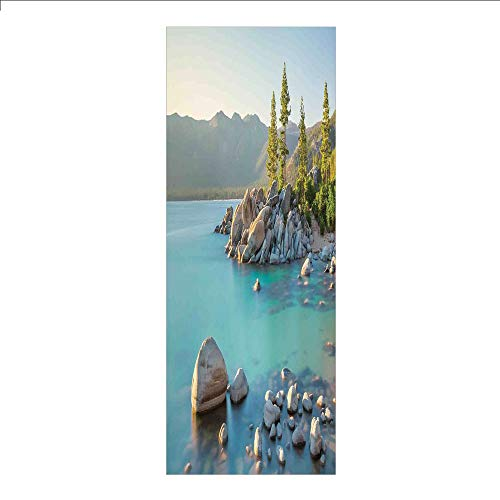 3D Decorative Film Privacy Window Film No Glue,Lake,Pastoral Spring Time Scenery in Provincial Countryside Lake Beach Shallow Water Theme,Blue Grey,for Home&Office ()