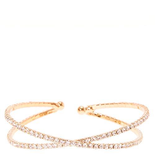 Icing Women's Rose Gold Rhinestone Criss Cross Cuff Bracelet (Criss Cross Rhinestone)