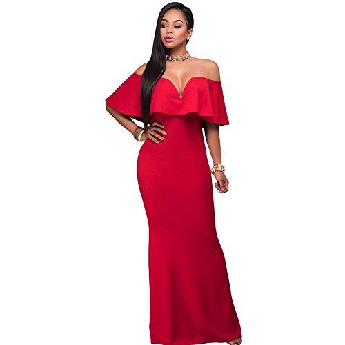 Kleid Kleid Rosso Frauen Fishtail V Mode abito Shoulder Shoulder Shoulder Ausschnitt One Kleid mit elegantes Kleid gdTwvPqT7