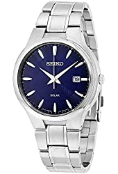 Seiko SNE403 Men's Core Silver Bracelet Band Black Dial Watch