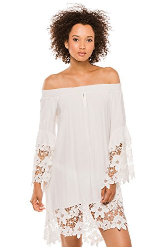 Muche et Muchette Women's Cottons Dress Swim Cover Up White S/M