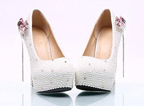 Scarpe da sposa YCMDM matrimonio da sposa perla rosa farfallino nappa SCARPE DONNA Large Size , 14 cm with high reservation , 36