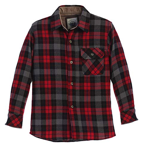 (Gioberti Boy's Flannel Shirt, Black/Red/Blue Hightlight, Size 10)