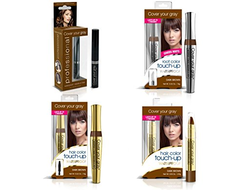 Cover Your Roots Professional Gray Coverage - 4 Piece Waterproof Set, Dark Brown by Cover Your Gray