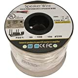 250Ft 18AWG/2C In-wall Speaker Wire, OFC CL2 UL OD-6.2mm White Jacket