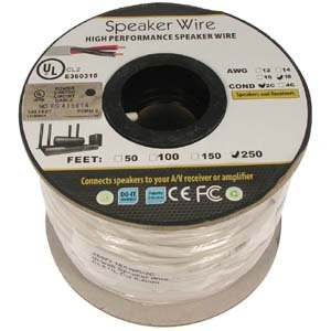 250Ft 18AWG//2C In-wall Speaker Wire OFC CL2 UL OD-6.2mm White Jacket