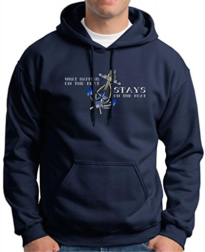 What Happens On the Boat Stays On the Boat Premium Hoodie Sweatshirt XL Navy (Holder Bottle Wine Sweater)