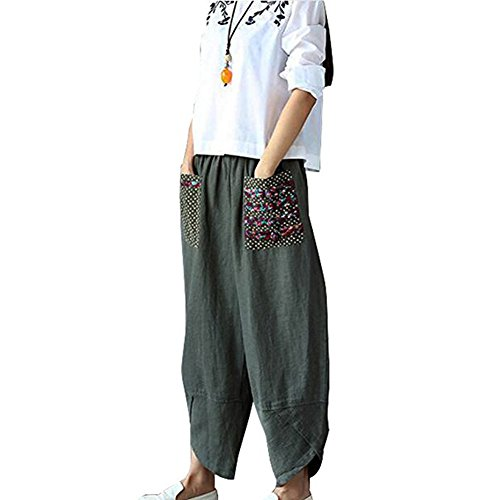 Helisopus Womens Baggy Casual Trousers Cotton Linen Loose Harlan