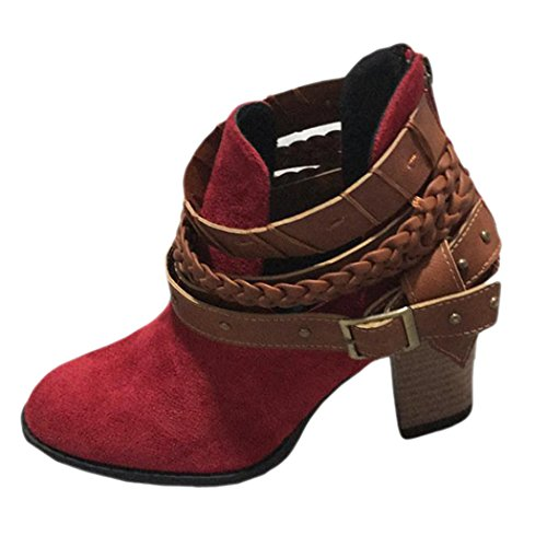 Zipper Heels Inkach Suede Ankle Back Red Buckle Rivet Boots High Boots Boots Womens Faux Winter 8pwr8P1q