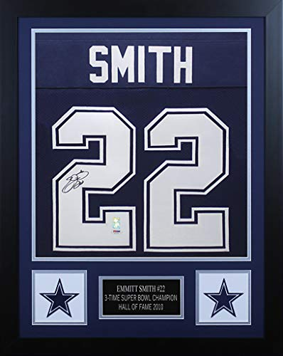 Emmitt Smith Autographed Blue Dallas Cowboys Jersey - Beautifully Matted and Framed - Hand Signed By Emmitt Smith and Certified Authentic by PSA - Includes Certificate of Authenticity