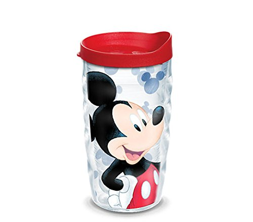 Tervis 1285396 Disney - Mickey Mouse Groovin Mickey Tumbler with Wrap and Red Lid 10oz Wavy, Clear (Tervis Tumblers Minnie Mouse)