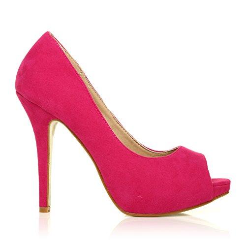 TIA - Chaussures à talons aiguilles - Plateforme - Bout ouvert - Fuchsia - Effet daim