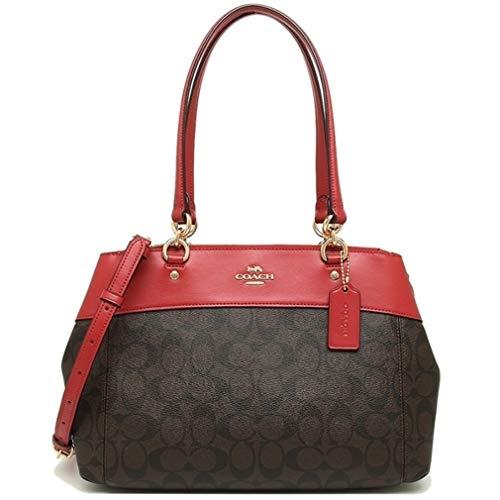 (Coach Brooke Signature Carryall Cross-Body Bag Satchel Handbag - BROWN/TRUE RED)
