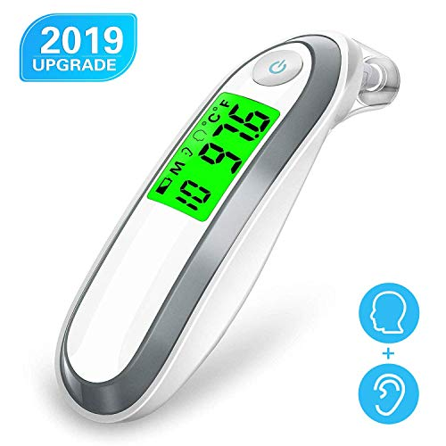 Upgrade Ear and Forehead Thermometer, Digital Medical Infrared Thermometer with 3 Fever Indicators, Latest Smart Chip for Super Instant Accurate Reading, Perfect for Infant Baby Kids and Adults 20 Second Rectal Thermometer