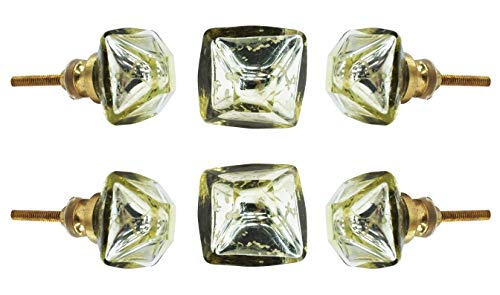 (Set of 6 San Pietro Mirror Glass Knobs for Cabinet Drawer Dresser Kitchen cupboard Decorative Pulls by Trinca Ferro)