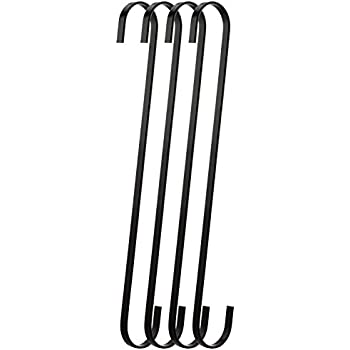 RuiLing 4 Pack 12 Inch Black Chrome Finish Steel Hanging Flat Hooks   S  Shaped