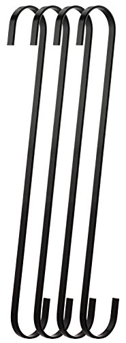 - RuiLing 4-Pack 12 Inch Black Chrome Finish Steel Hanging Flat Hooks - S Shaped Hook Heavy-Duty S Hooks, for Kitchenware, Pots, Utensils, Plants, Towels, Gardening Tools, Clothes