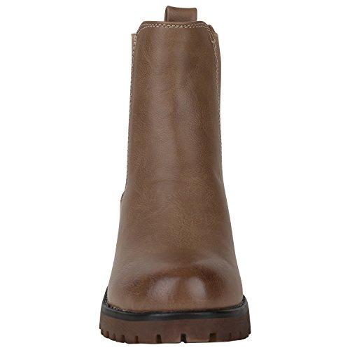 Stiefelparadies Damen Chelsea Boots Plateau Stiefeletten Profilsohle Schuhe  Velours Metallic Booties Knöchelhohe Stiefel Blockabsatz Plateauschuhe  Flandell ...