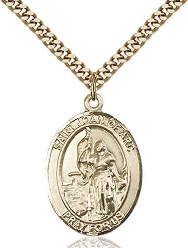14kt Gold Filled St Joan of Arc Pendant with 24 Gold Plated Stainless Steel Heavy Curb Chain Patron Saint of SoldiersFrance