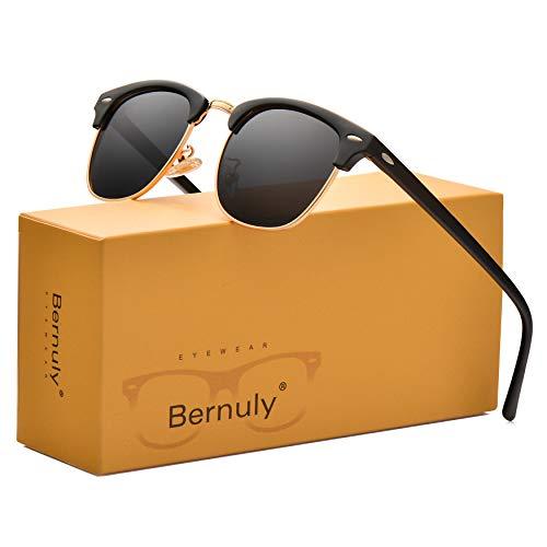 Mens Semi-rimless Sunglasses, Polarized Black