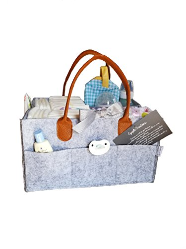Baby Diaper Caddy Organizer, Boy Girl Neutral Diaper Tote, Baby Shower Gift, Newborn Registry, Premium Portable Tote Bag, Changeable Separators, Everyday Nursery, Car Or Home Office Organizer- ()