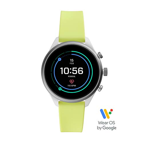 Fossil Women's Gen 4 Sport Heart Rate Metal and Silicone Touchscreen Smartwatch, Color: Neon Green (FTW6028)