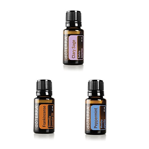 doTERRA Essential Oil Value Set (3 in 1) - Clary Sage 15ml + Peppermint 15ml + Frankincense 15ml by doTERRA