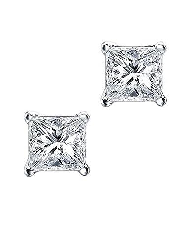 Princess Cut Square CZ Basket Set Sterling Silver Stud Earrings 9mm - 5 Ct Orecchini Di Diamanti